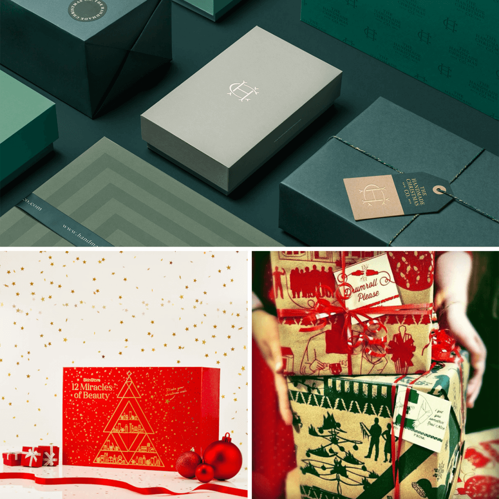green and red christmas packaging designs