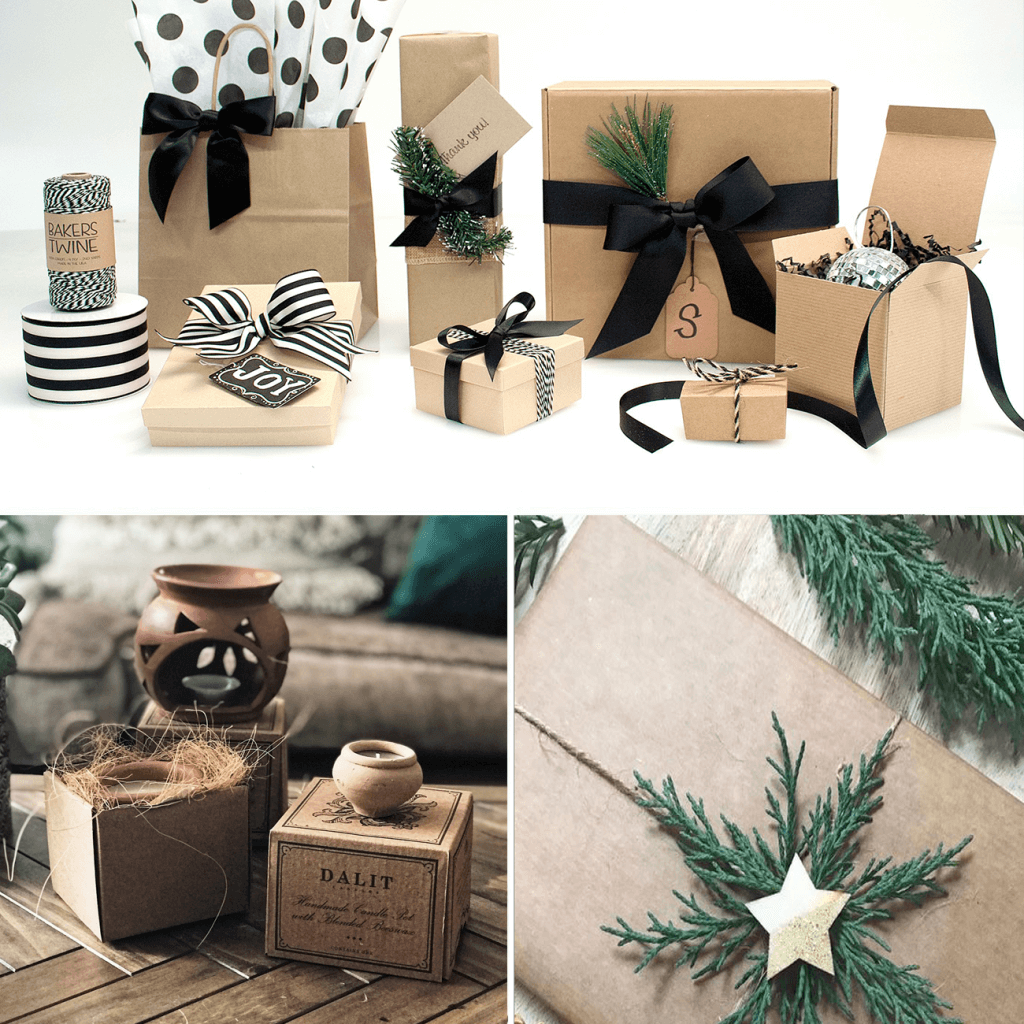 rustic eco-friendly packaging with christmas accesories
