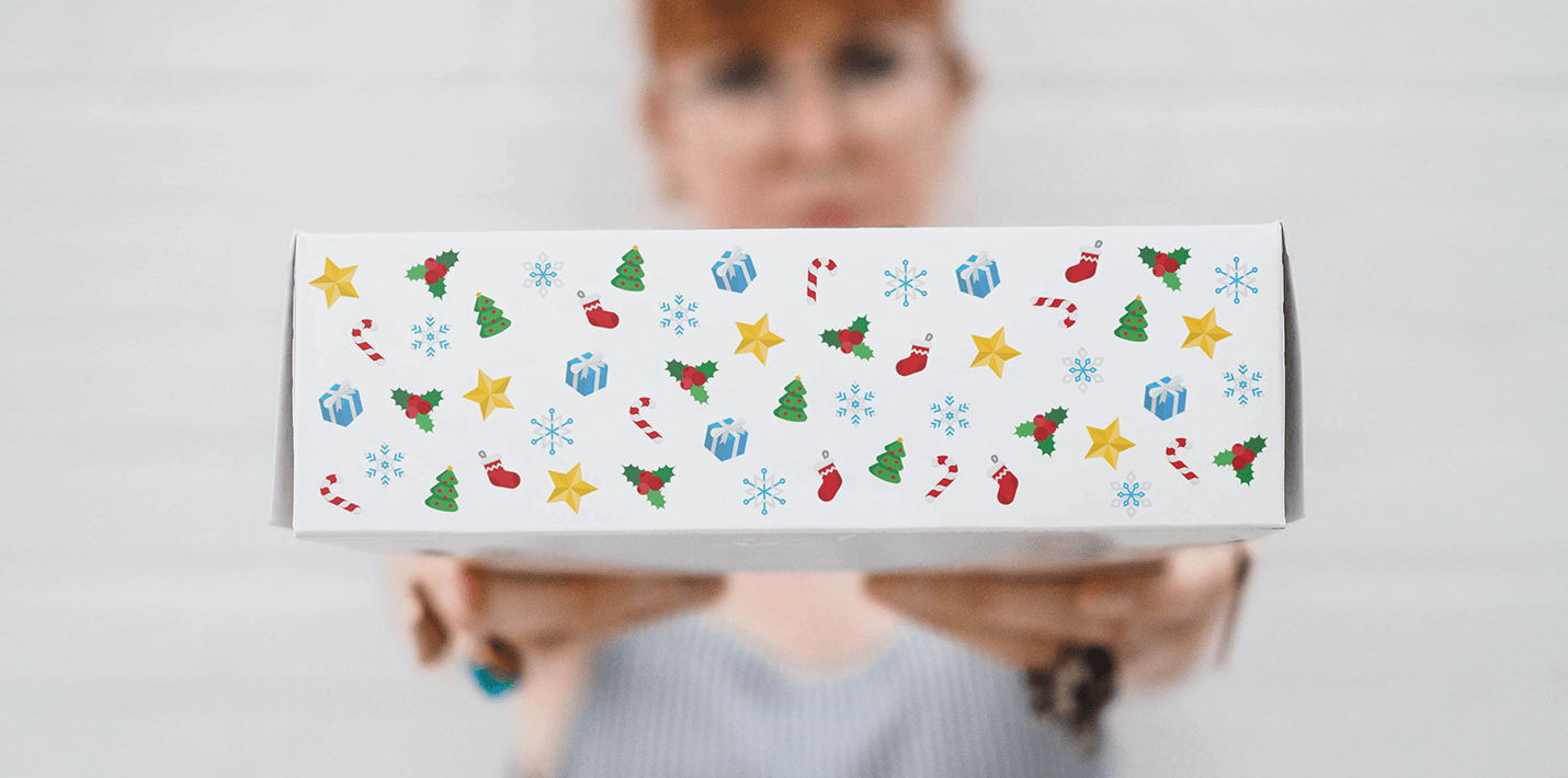 cardboard box with christmas pattern