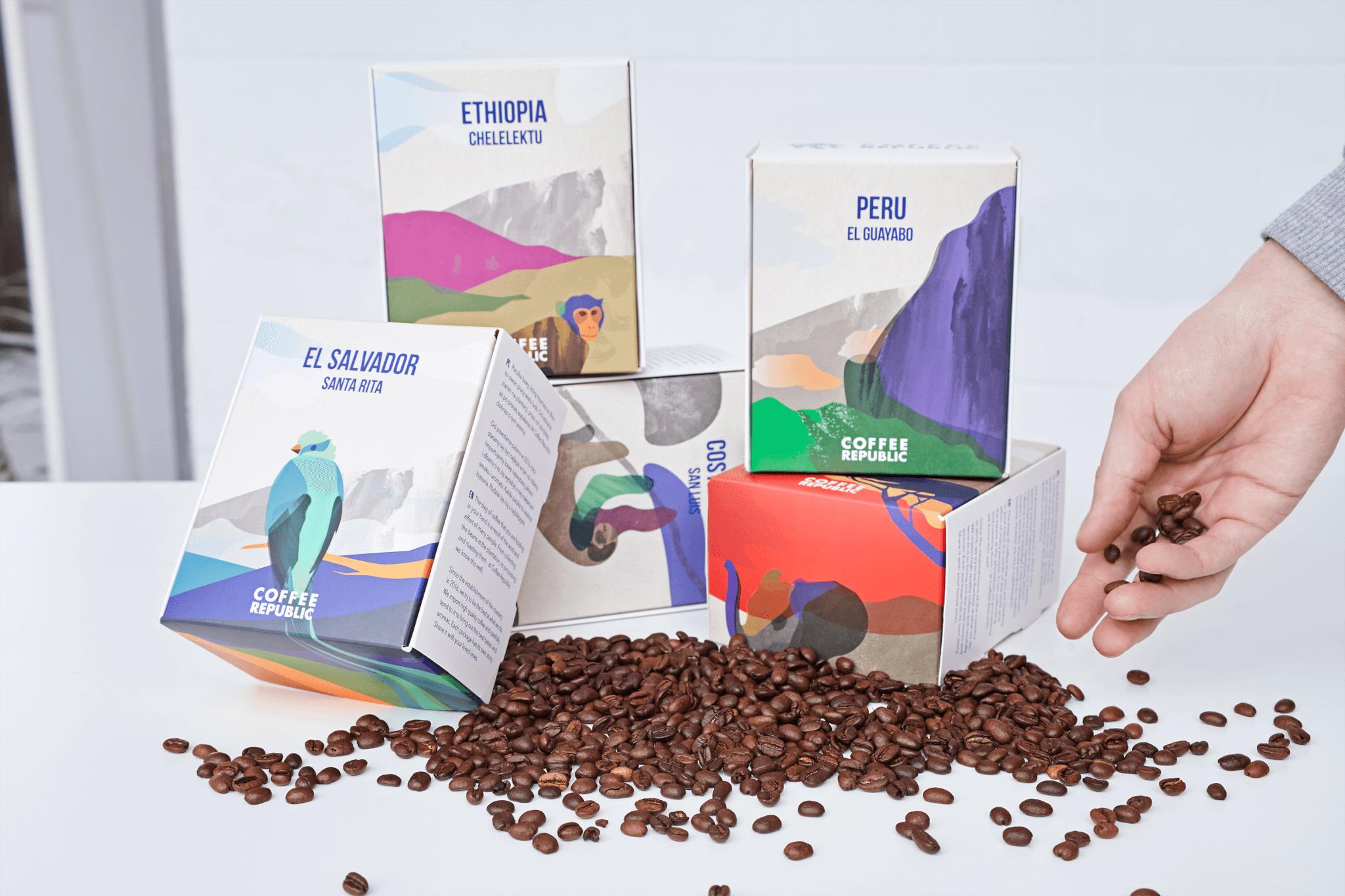 Boîtes d'Expédition Eco couleur pour Coffee Republic avec les paysages des pays producteurs