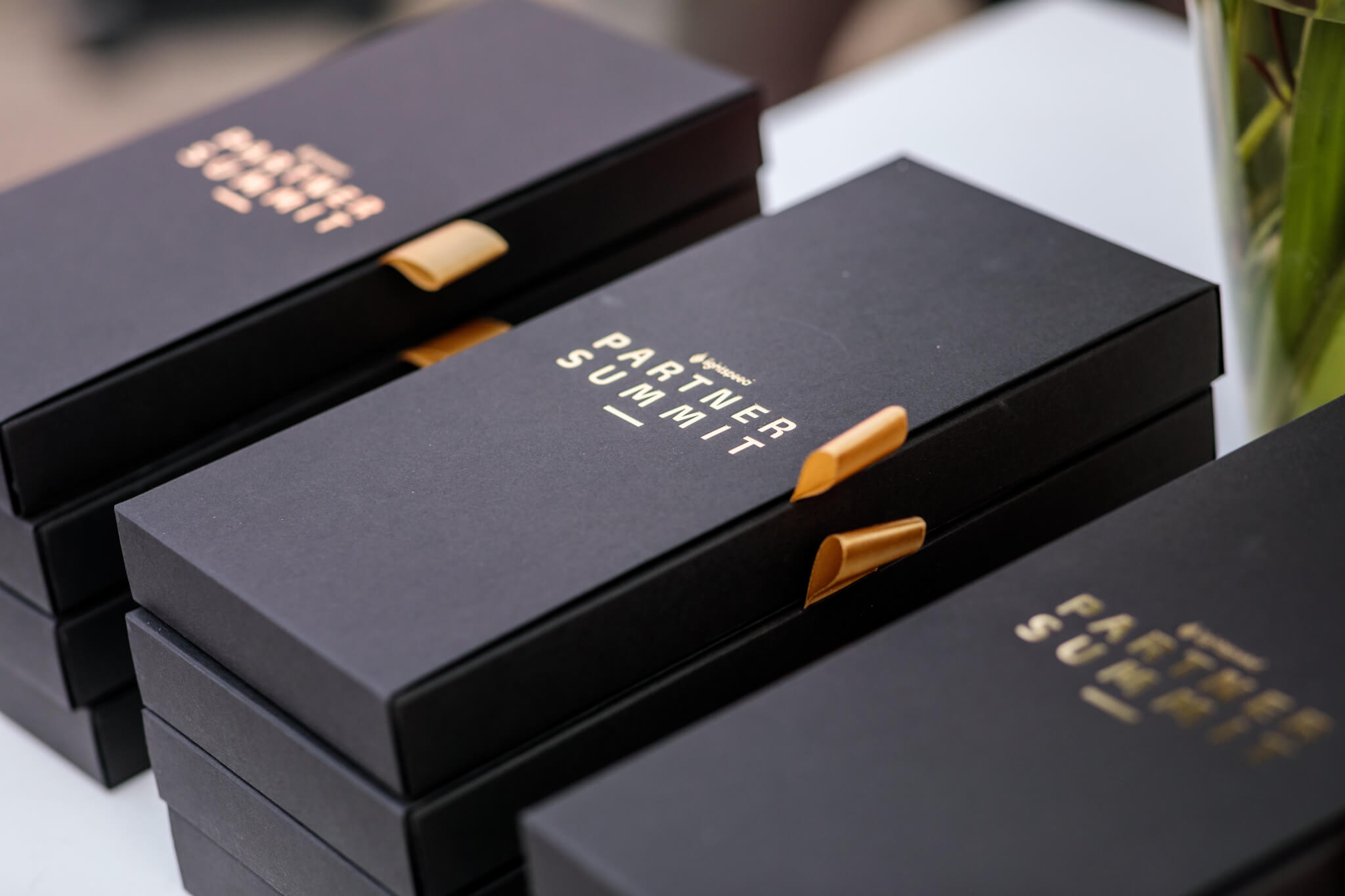 Dark cardboard boxes with hot stamping