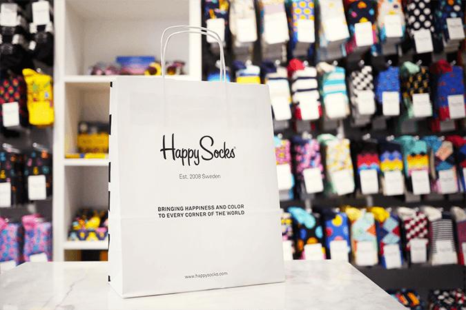 produktové obaly Happy Socks papírová taška