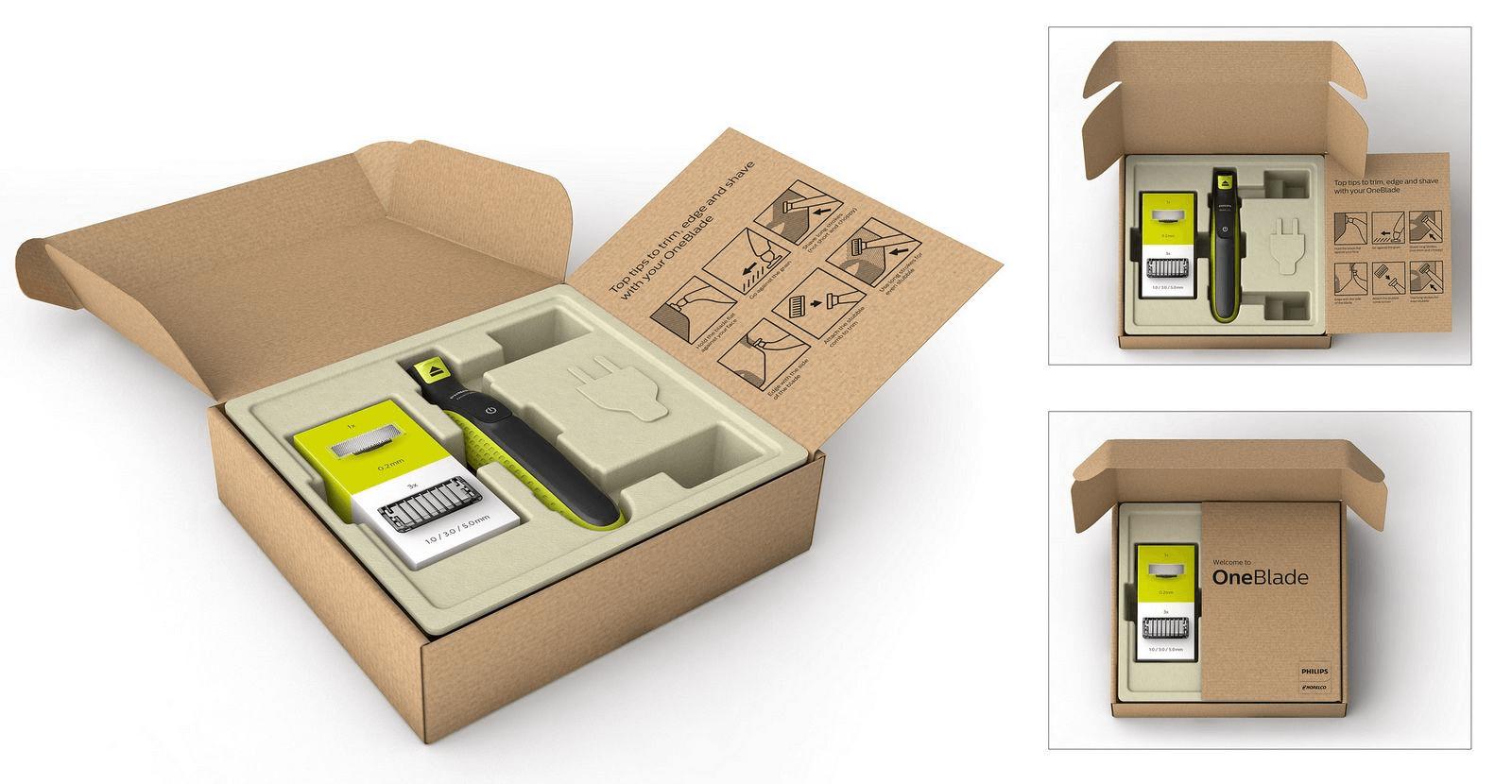 Emballage écologique de la marque Philips pour le rasoir OneBlade
