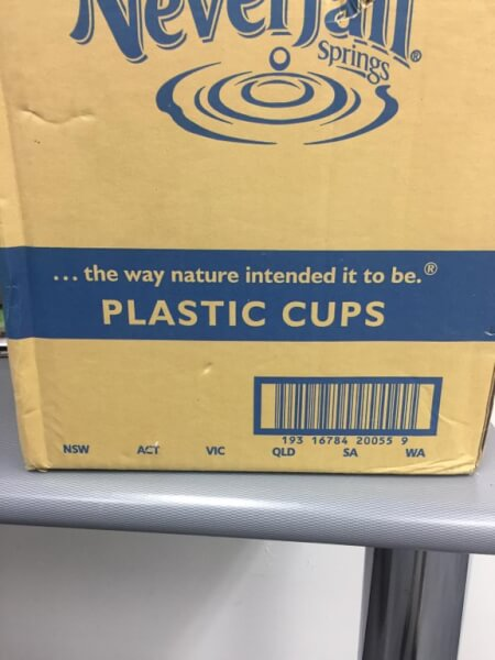 bad packaging of plastic cups