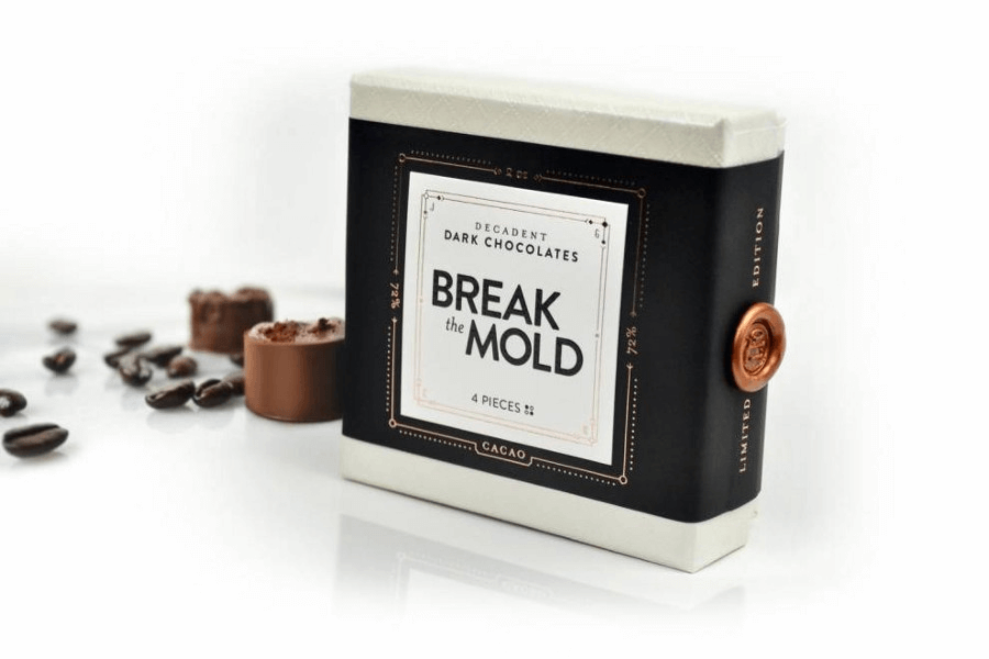 Packaging chocolat original de la marque Break the Mold