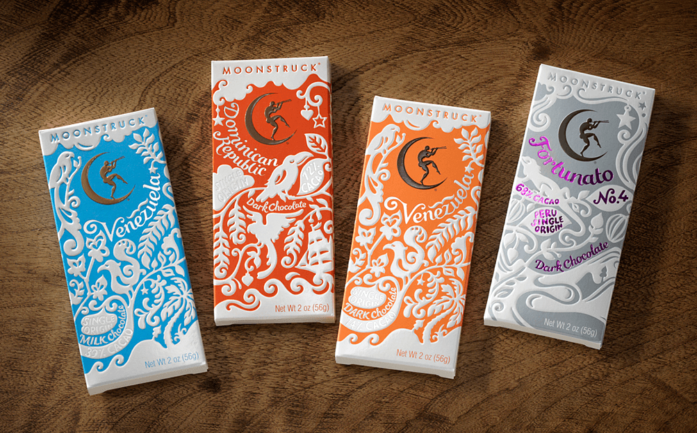 Conception multi-sensorielle du packaging de Moonstruck Chocolate