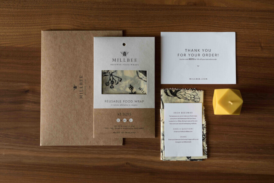 cardboard envelopes by millbee studio with a thank you note