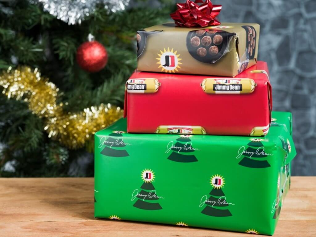 Jimmy Dean sausage scented wrapping paper