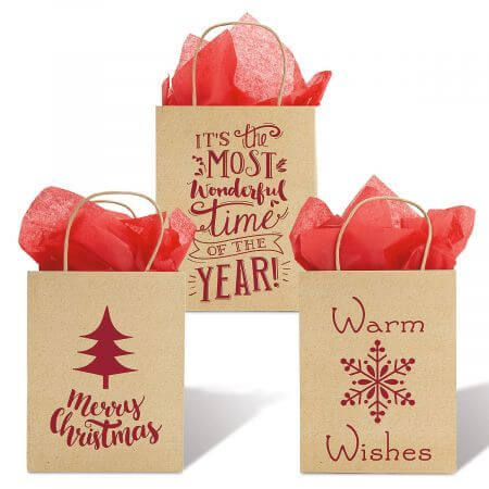 holiday christmas paper brown bags
