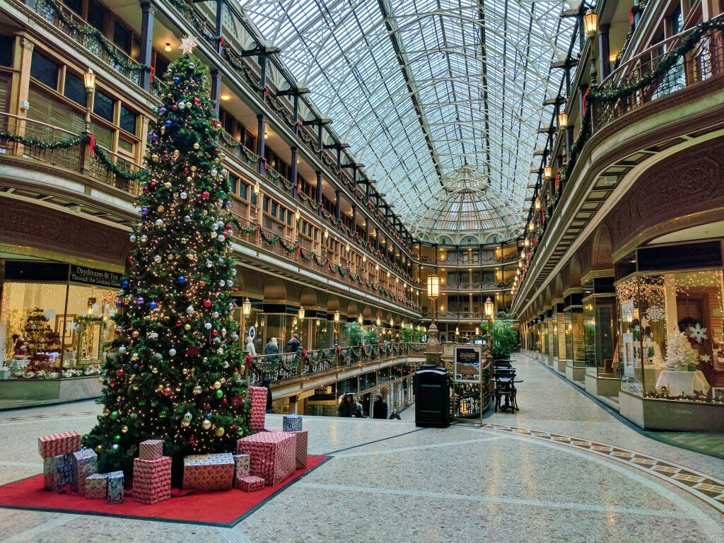 Shopping mall with Christmas decorations