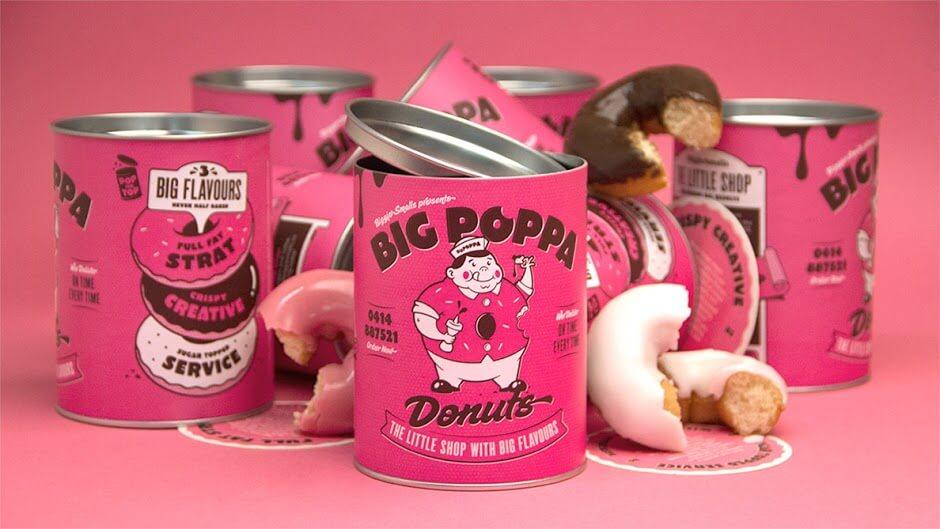 big poppa doughnuts paper can packaging