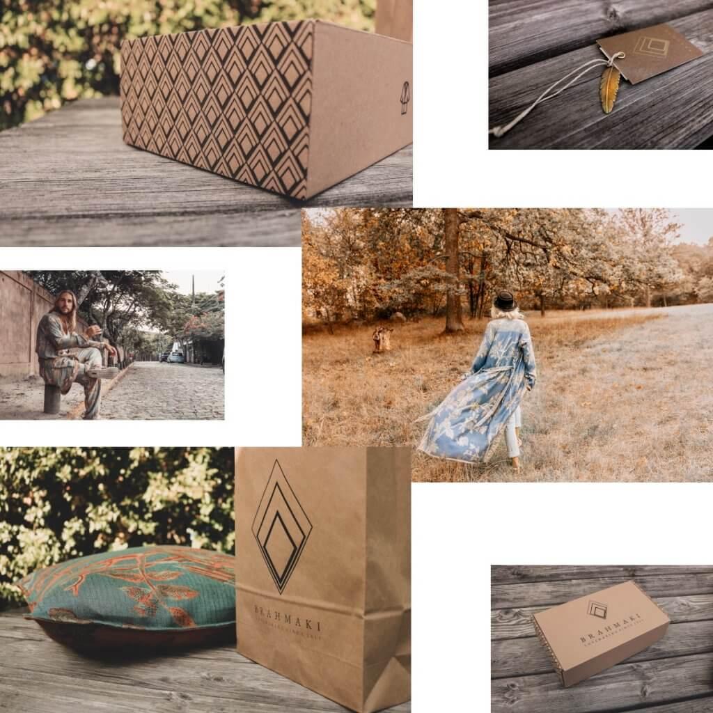 Collage scatola postale eco e busta carta riciclata