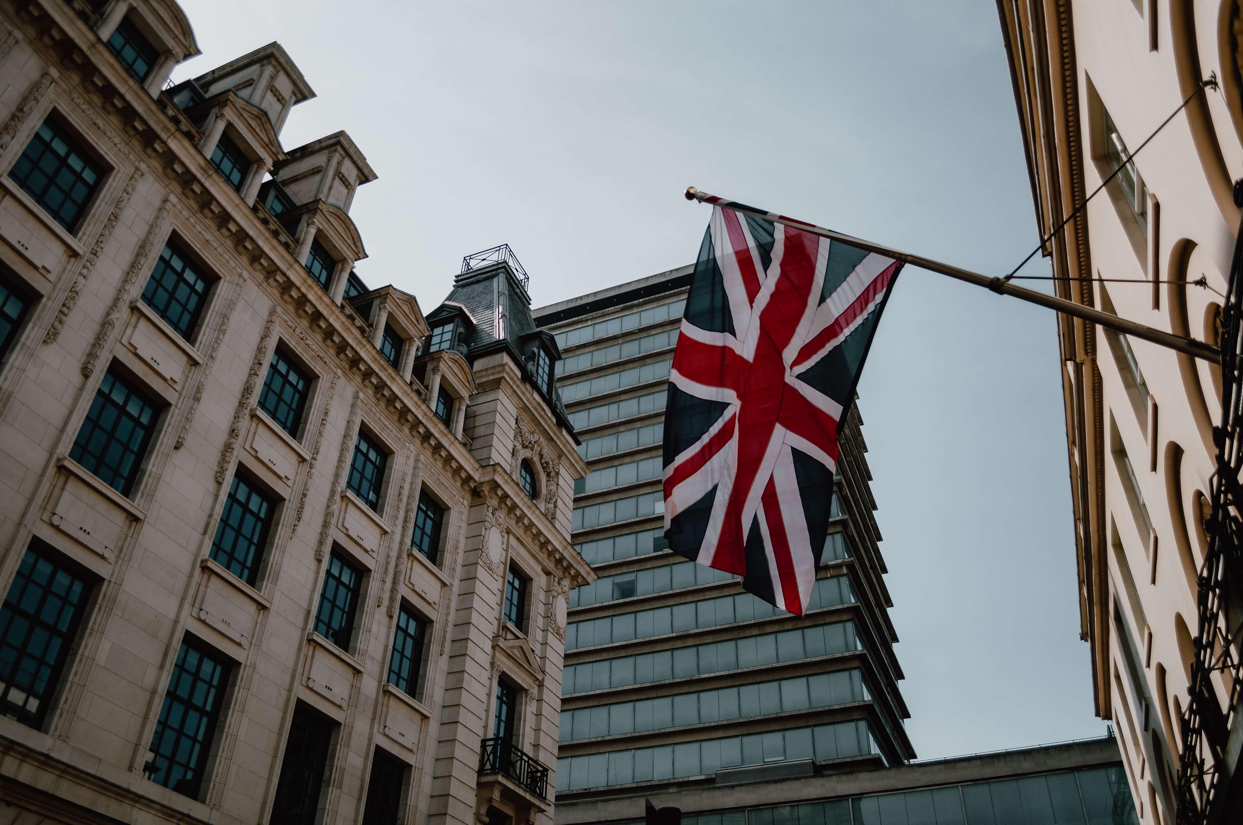 Bandiera Regno Unito in città