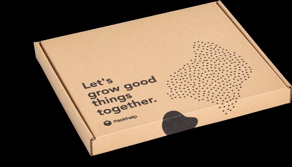 caja para envíos con logotipo negro