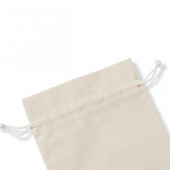drawstring opening of a white organic cotton muslin bag