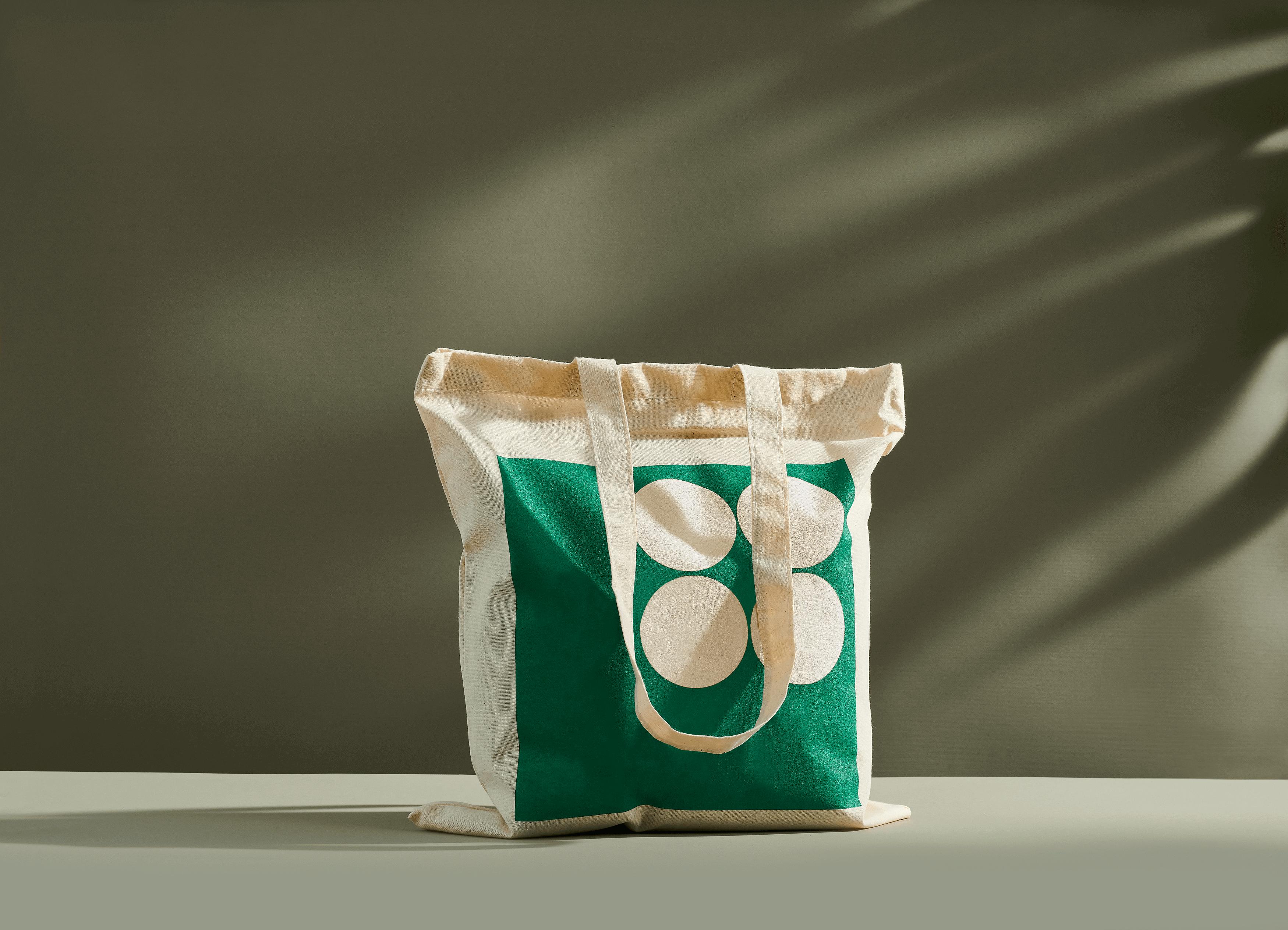 Bolsa de algodón orgánico con estampado verde