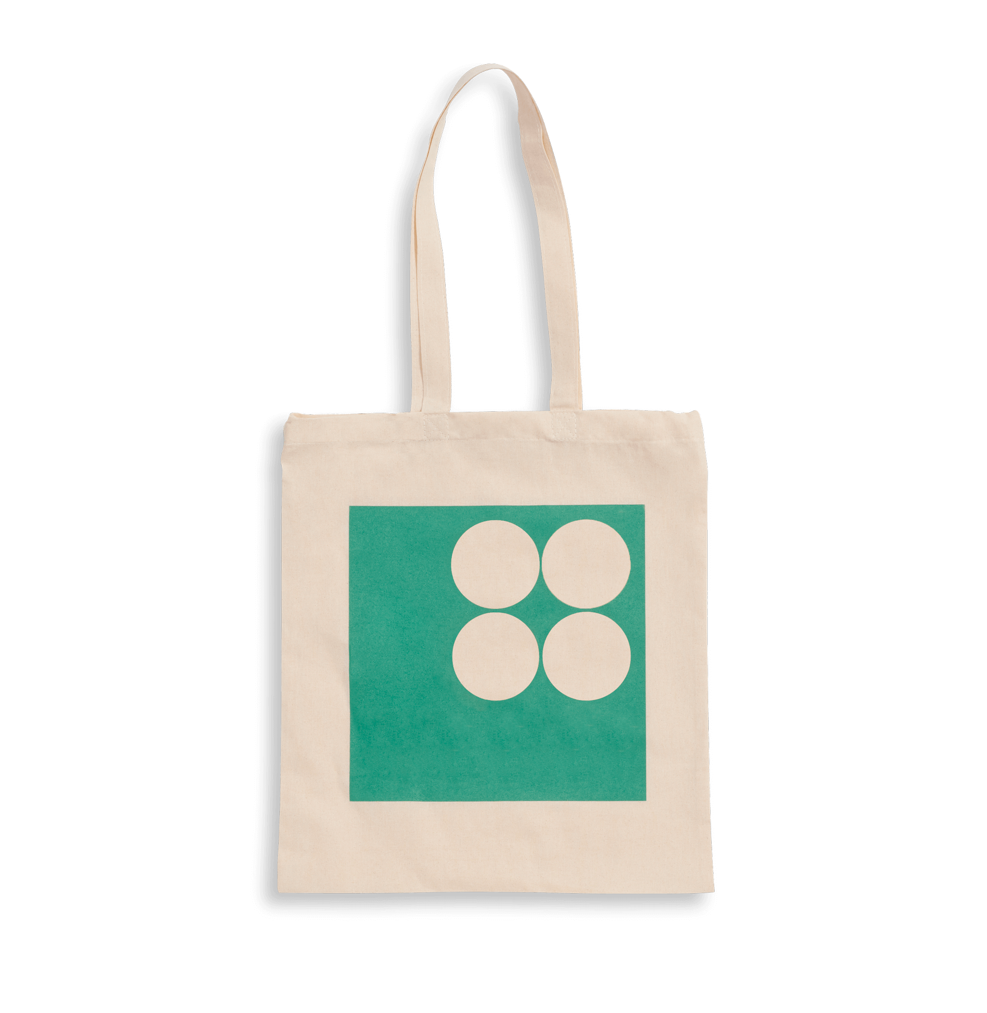 Light beige organic cotton tote bag with green print